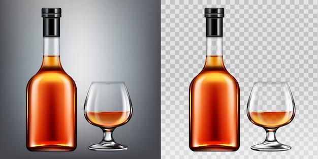 Brandy botella y vaso vector gratuito