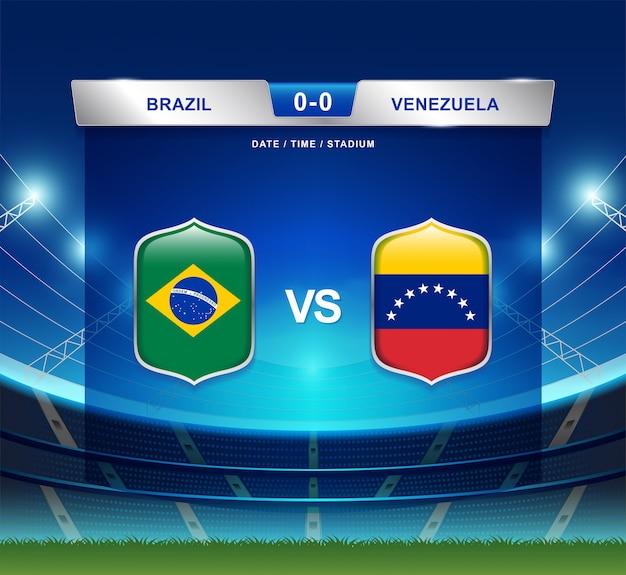 Brasil vs venezuela marcador fútbol fútbol américa américa Vector Premium