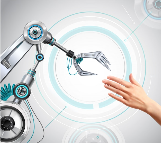 Brazo robótico y mano humana extendiéndose entre sí composición realista de alta tecnología vector gratuito