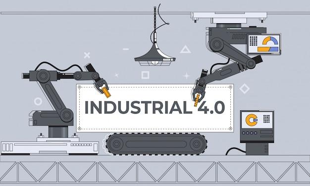 Brazos robóticos y cinta transportadora, automatización de fábrica, industria 4.0 Vector Premium