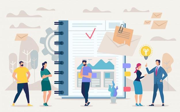 Bright flyer mantener las tareas diarias en el cuaderno. Vector Premium