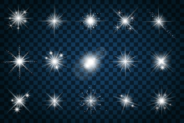 Brilla las estrellas con brillos y destellos. efecto centelleo, deslumbramiento de diseño, signo de elemento de centelleo, luz, vector gratuito