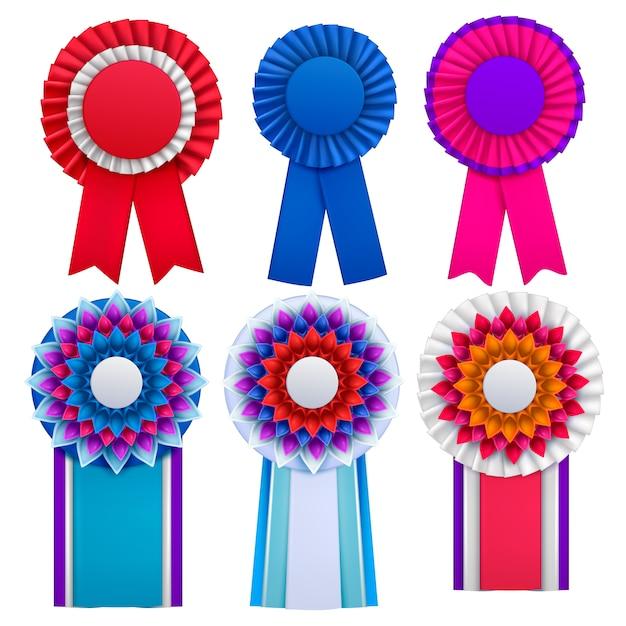 Brillante azul rojo rosa púrpura premios circulair rosetas insignias insignias solapas con cintas conjunto realista vector gratuito
