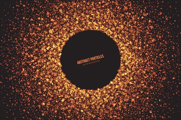 Brillante brillo dorado partículas resumen vector de fondo Vector Premium