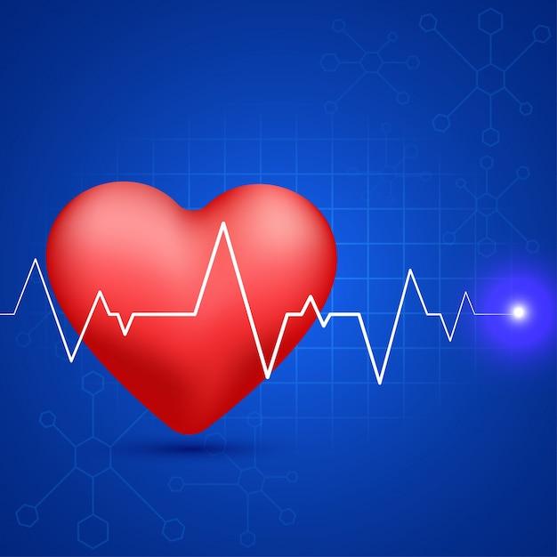 Brillante corazón rojo con el pulso de latido del corazón blanco sobre fondo de moléculas azules para el concepto médico. Vector Gratis