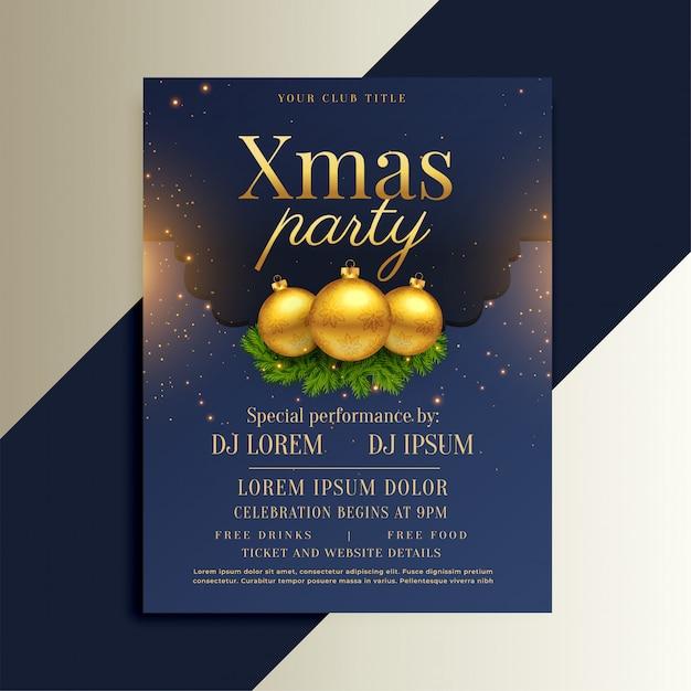 Brillante diseño de flyer navideño con bolas doradas. vector gratuito