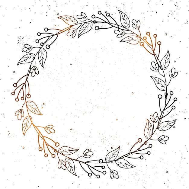 Brillante doodle flores decoradas en un marco circular sobre fondo ...