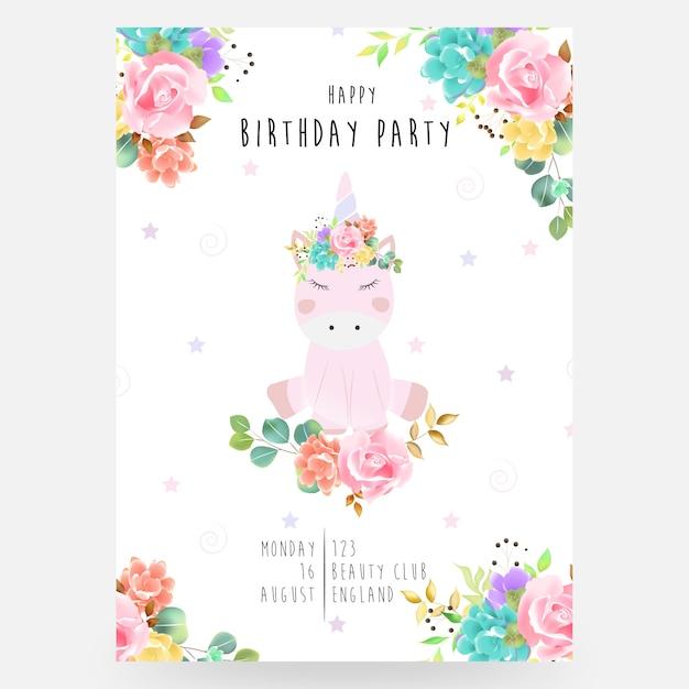 Brillante encantador lindo hada mágico colorido unicornio con pestañas en la hermosa flor corona acuarela Vector Premium