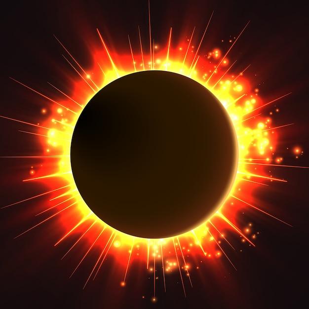 Brillante estrella brilla desde los bordes de un planeta vector gratuito