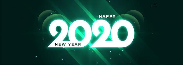 Brillante feliz año nuevo 2020 brillante banner vector gratuito