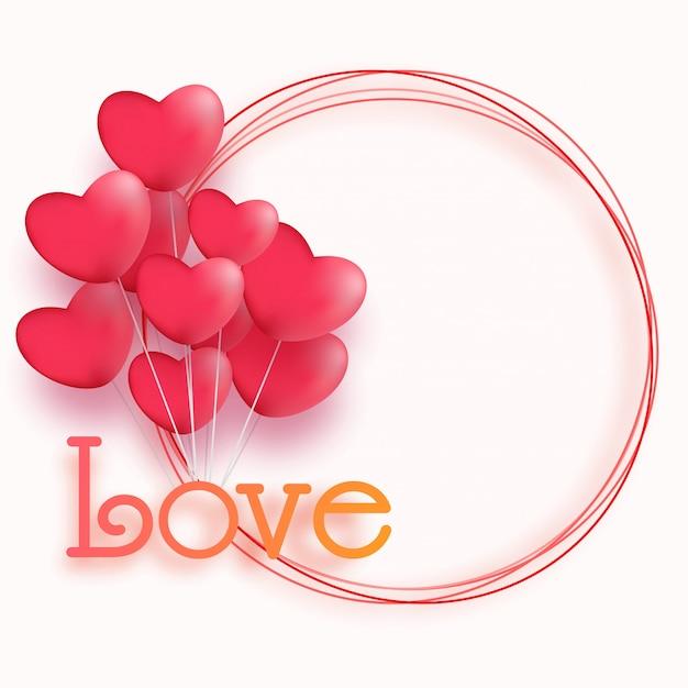 Brillante forma de corazón globos y texto amor en un marco circular ...