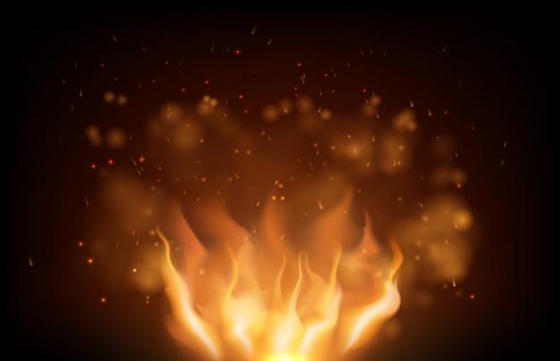Brillante fuego llameante y brillo en negro Vector Premium