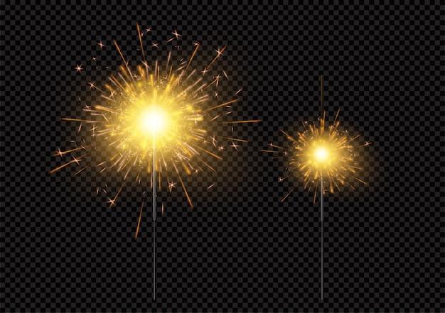 Brillantes brillantes brillantes luces de bengala aisladas sobre fondo negro Vector Premium