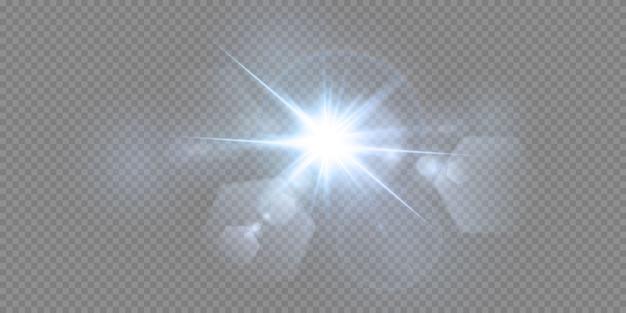 Brillantes estrellas de neón aisladas sobre fondo blanco. efectos, destello de lente, brillo, explosión, luz de neón, set. estrellas brillantes, hermosos rayos azules. . Vector Premium