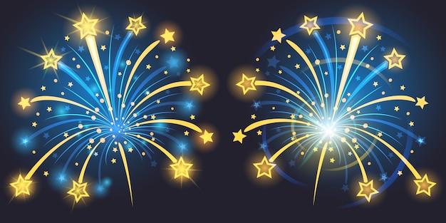 Brillantes fuegos artificiales con estrellas y chispas vector gratuito