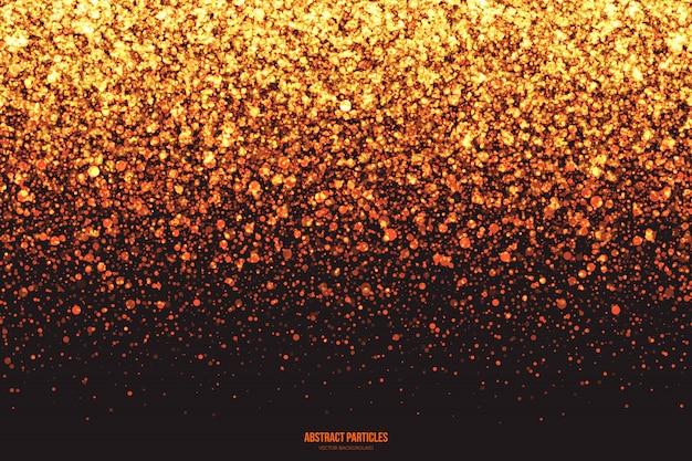Brillo dorado brillante caída de partículas resumen antecedentes Vector Premium