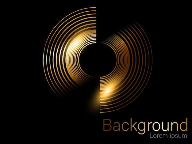 Brillo dorado, cepillo circular, separado sobre un fondo negro dorado Vector Premium