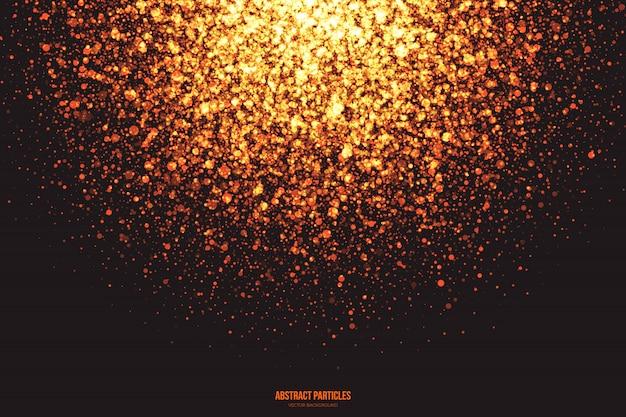 Brillo dorado partículas brillantes explosión fondo abstracto Vector Premium