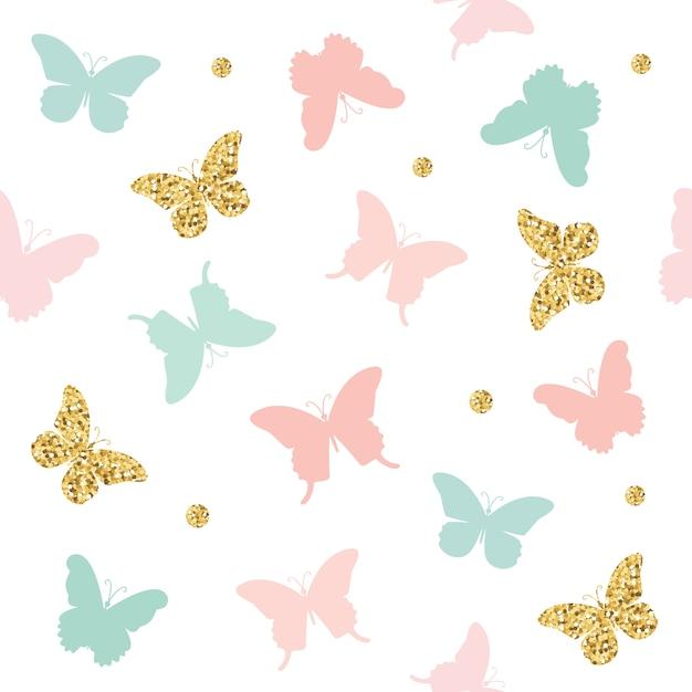 Brillo, rosa pastel y mariposas azules sin patrón. Vector Premium