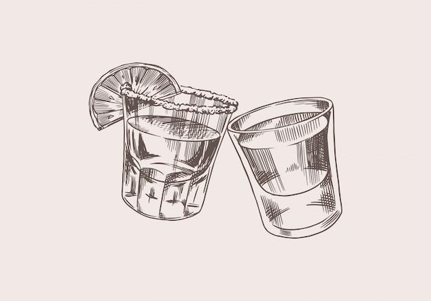 Brindis de salud. insignia de tequila mexicano vintage. chupitos de vidrio con bebida fuerte. etiqueta alcohólica para banner de cartel. letras de boceto grabado dibujado a mano para camiseta. Vector Premium