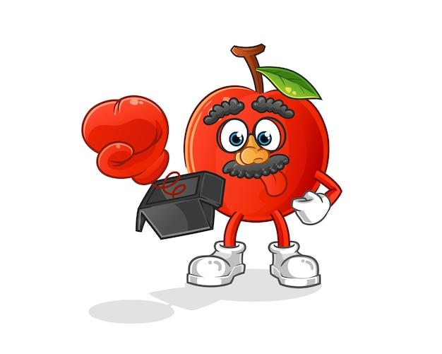 Broma de cereza con guante en dibujos animados de caja. mascota de dibujos animados Vector Premium