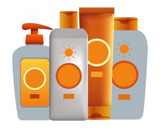 Bronceadores solares productos cosméticos | Vector Premium