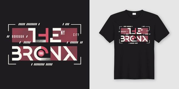 El bronx new york diseño de camisetas y prendas de vestir de estilo abstracto geométrico, tipografía, impresión, ilustración. muestras globales. Vector Premium