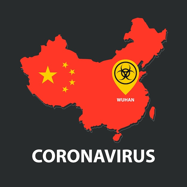 Brote de coronavirus en china, mapa | Vector Premium
