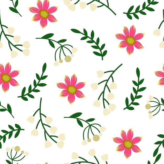 Brote rosa flor hoja primavera sin patrón | Descargar Vectores Premium