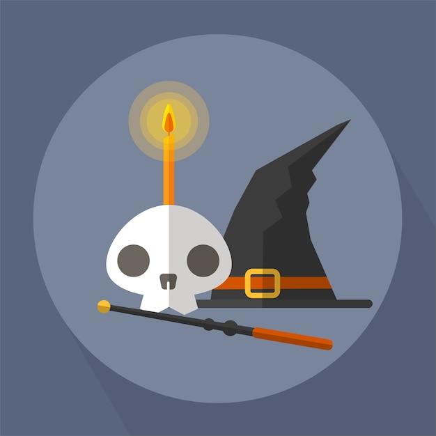 La bruja del cráneo y la varita mágica Vector Premium
