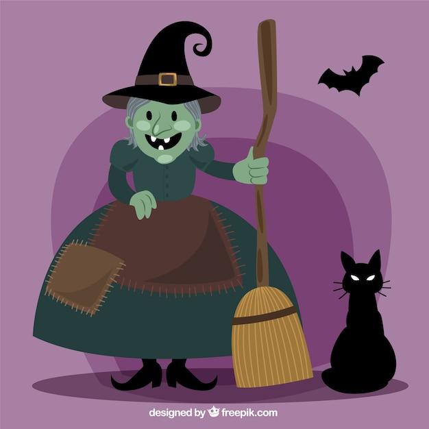 Bruja de dibujos animados con gato y murciélago | Descargar Vectores ...