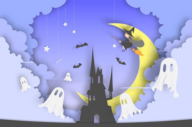 Bruja en el estilo de arte de papel de escoba con calabaza sonrisa y el castillo para la fiesta de halloween Vector Premium