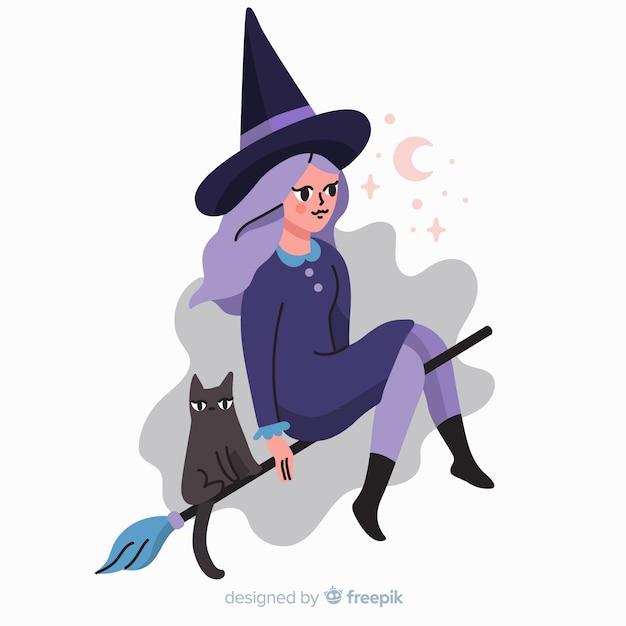 Bruja y gato personajes de dibujos animados de halloween vector gratuito