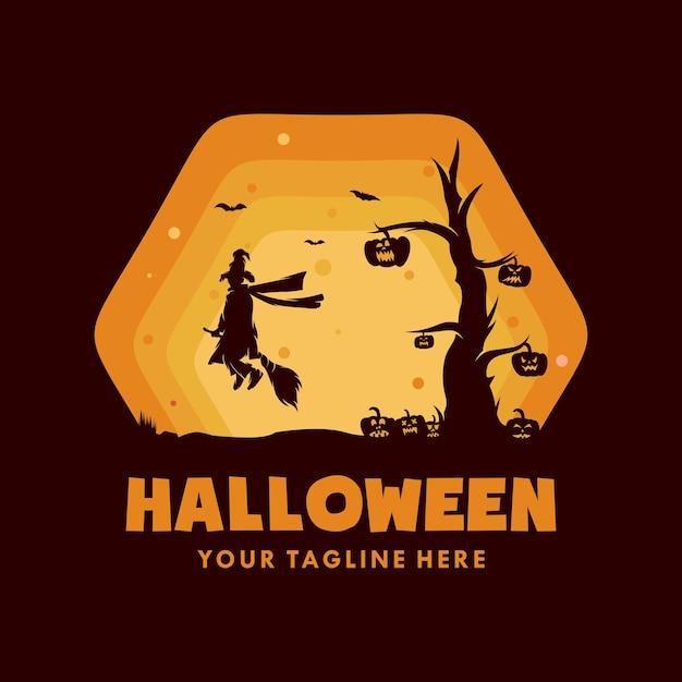 Bruja de halloween con logo de calabaza Vector Premium