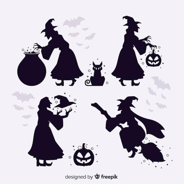 Bruja de halloween silueta vector gratuito