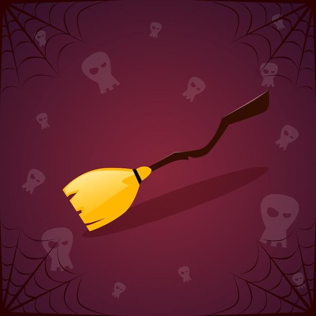 Bruja palo de escoba y calaveras. feliz decoración de halloween fiesta de terror Vector Premium