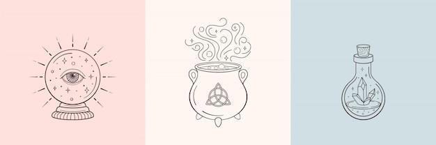 Bruja y símbolos mágicos con bola de cristal, botella de cristal mágico, caldero Vector Premium