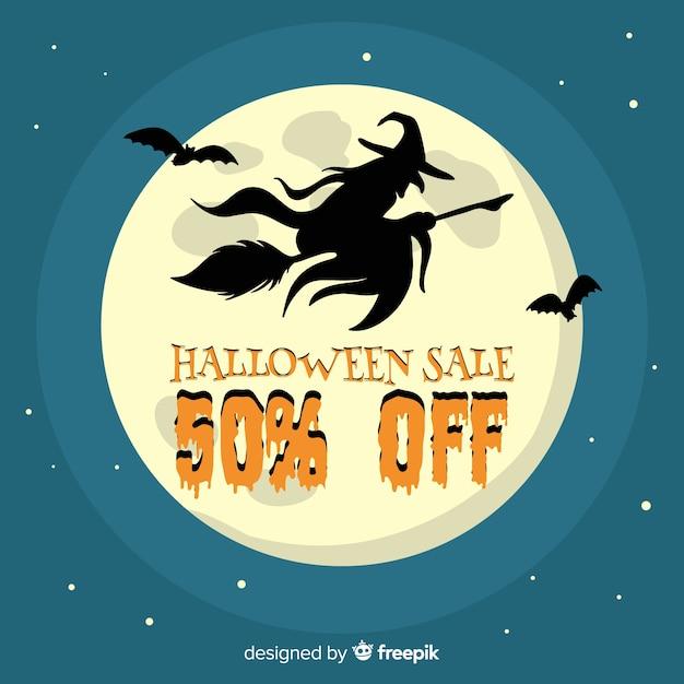 Bruja de venta de halloween volando frente a luna llena vector gratuito