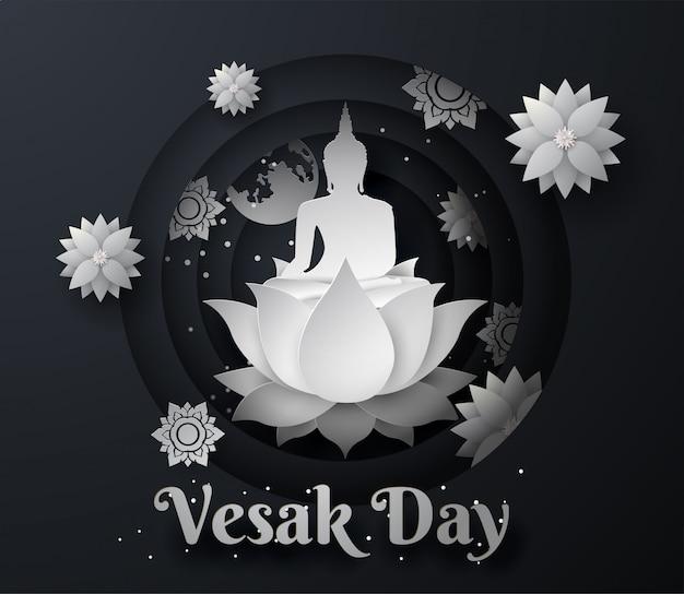 Buda blanco sobre fondo de loto feliz día de vesak Vector Premium