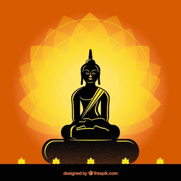 Buda tradicional con estilo de silueta vector gratuito