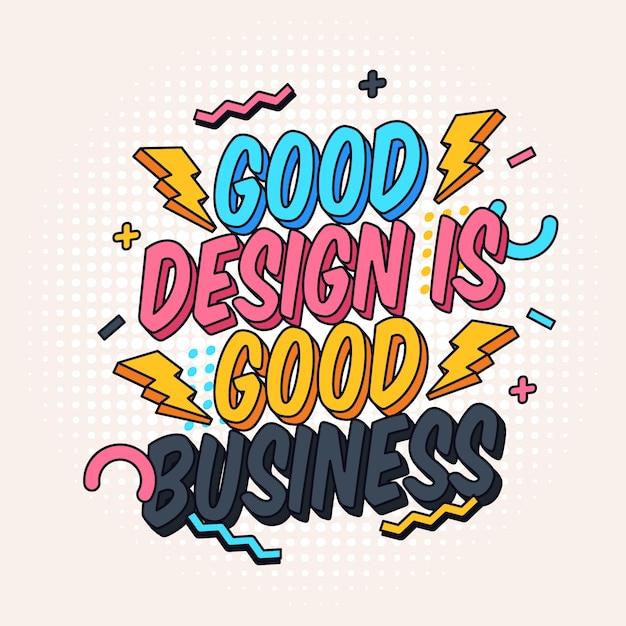 Buen diseño y cartel de letras famosas de negocios Vector Premium