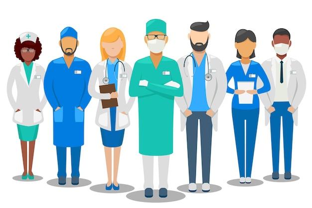 Buen equipo médico. médicos y enfermeras del personal del hospital. ilustración vector gratuito