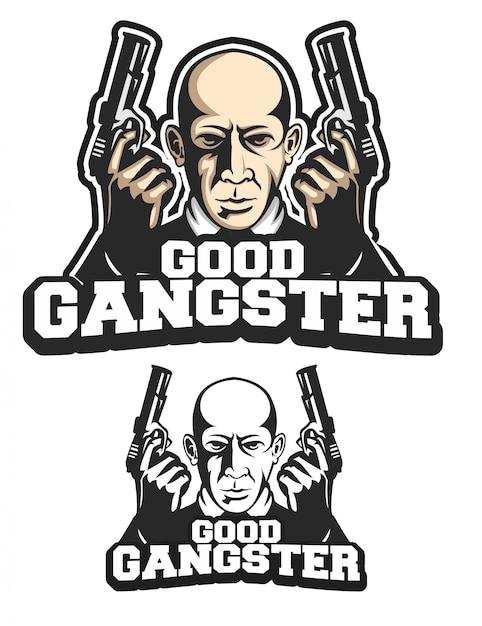 Buena mascota logotipo de gángster Vector Premium