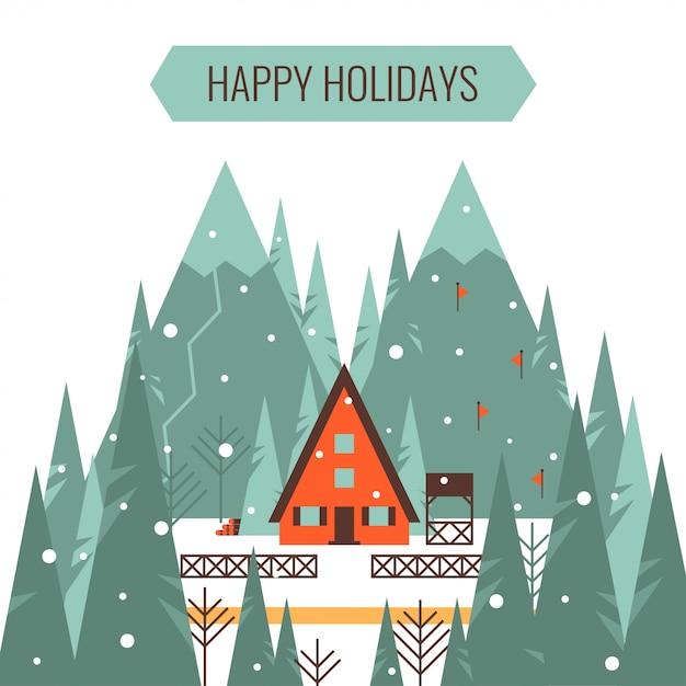 Buenas fiestas tarjeta de felicitación con vacaciones de invierno vacaciones y esquí concepto vector ilustración. Vector Premium