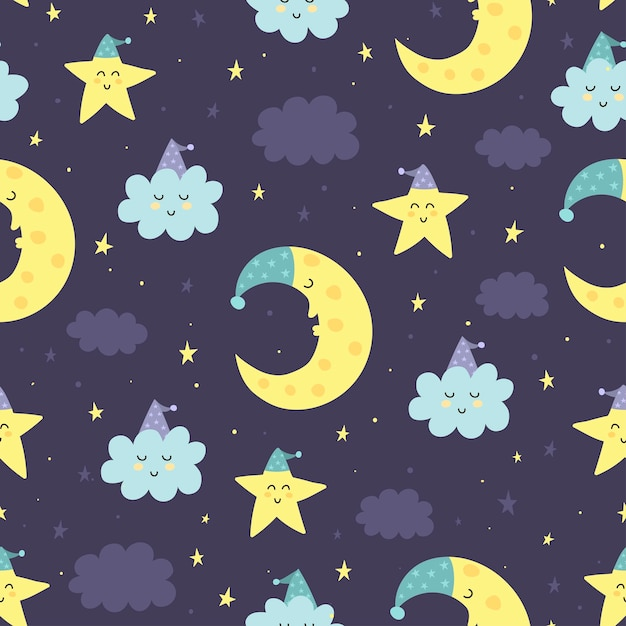 Buenas noches patrón transparente con lindo dormir luna, estrellas y nubes. dulces sueños Vector Premium