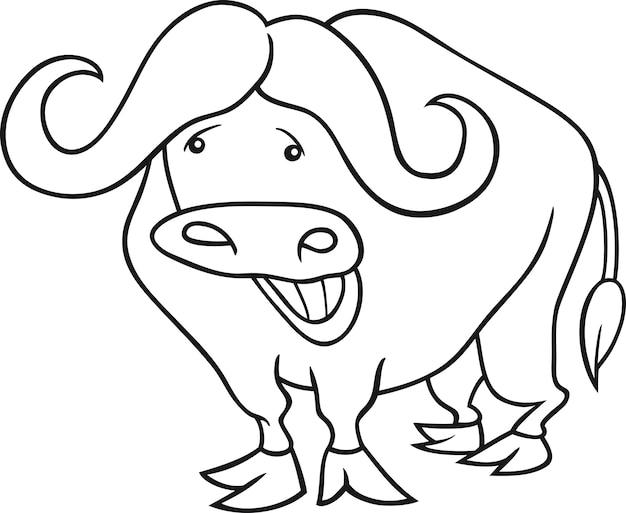 Búfalo africano para colorear libro | Descargar Vectores Premium