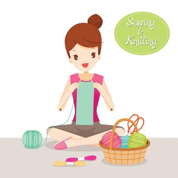 Bufanda de tejer mujer, herramientas y accesorios de costura Vector Premium