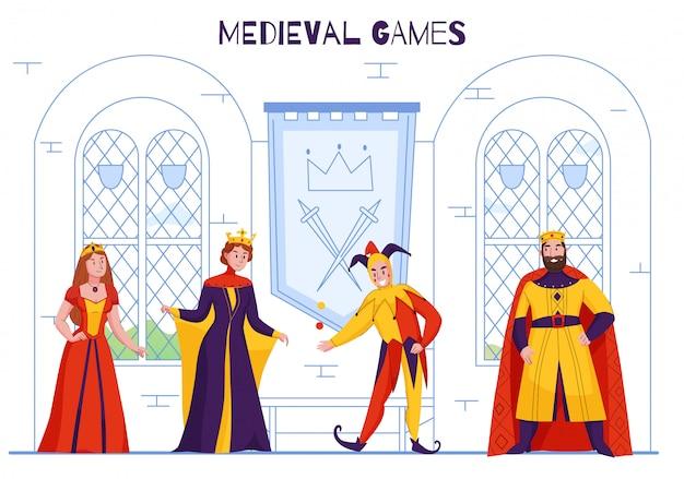 Bufón de la corte del reino medieval en el sombrero de los tontos entretenido monarca malabarismo bromeando plana coloridos personajes reales ilustración vectorial vector gratuito