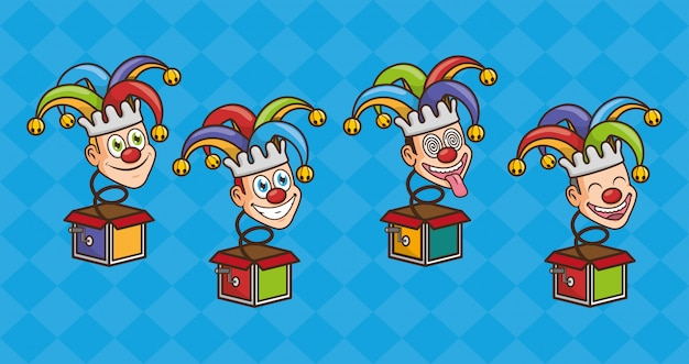 Bufones de juguete del día de los inocentes vector gratuito