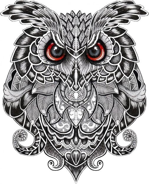 Búho real pájaro en estilo doodle Vector Premium